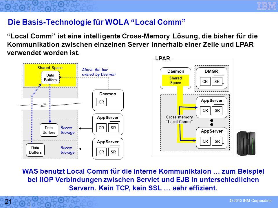 © 2010 IBM Corporation 21 Die Basis-Technologie für WOLA Local Comm Local Comm ist eine intelligente Cross-Memory Lösung, die bisher für die Kommunikation zwischen einzelnen Server innerhalb einer Zelle und LPAR verwendet worden ist.
