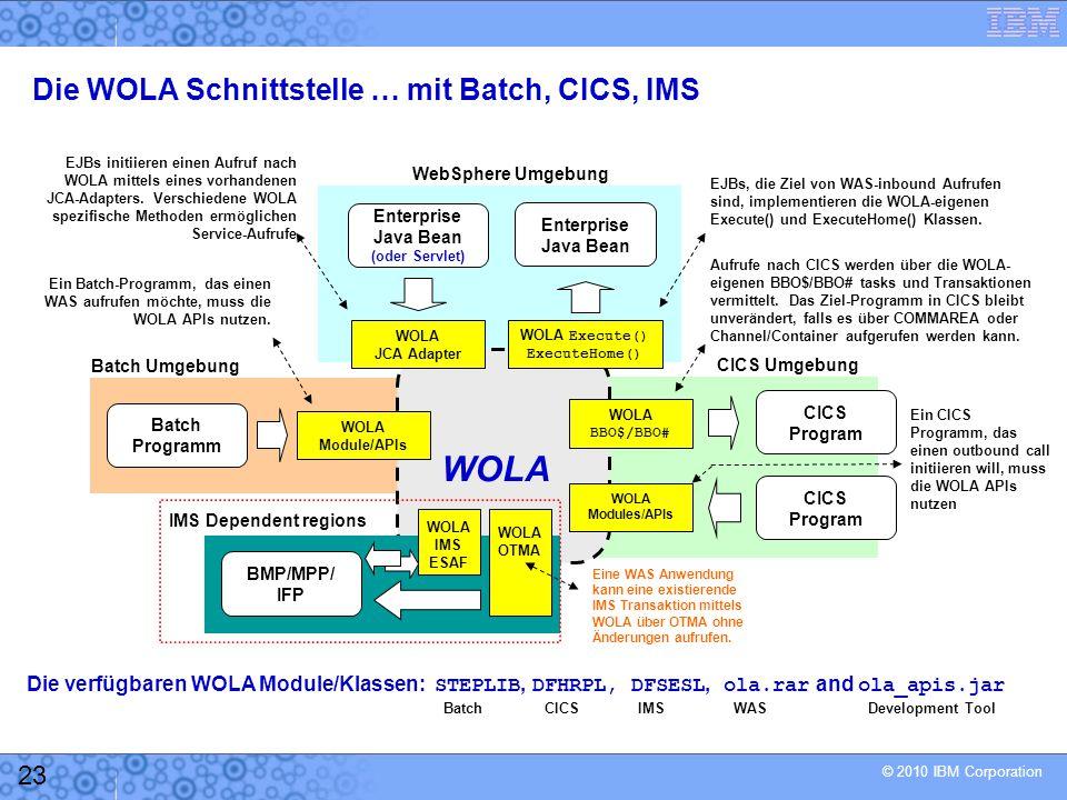 © 2010 IBM Corporation 23 Die WOLA Schnittstelle … mit Batch, CICS, IMS Enterprise Java Bean (oder Servlet) Enterprise Java Bean WOLA Execute() ExecuteHome() WOLA JCA Adapter WOLA CICS Program WOLA BBO$/BBO# WOLA Modules/APIs Batch Programm WOLA Module/APIs WebSphere Umgebung CICS Umgebung Batch Umgebung EJBs initiieren einen Aufruf nach WOLA mittels eines vorhandenen JCA-Adapters.