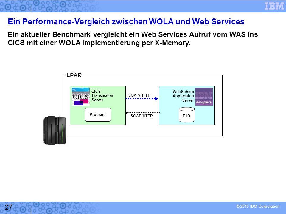 © 2010 IBM Corporation 27 Ein Performance-Vergleich zwischen WOLA und Web Services Ein aktueller Benchmark vergleicht ein Web Services Aufruf vom WAS ins CICS mit einer WOLA Implementierung per X-Memory.