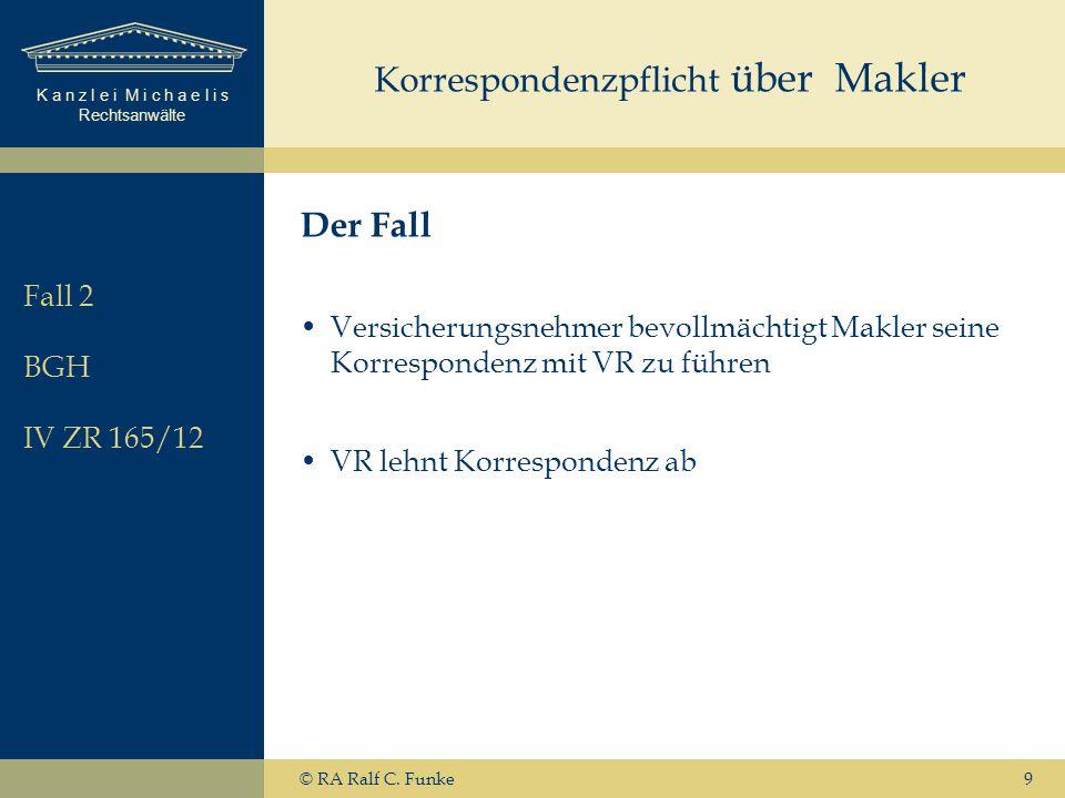 K a n z l e i M i c h a e l i s Rechtsanwälte © RA Ralf C. Funke9 Korrespondenzpflicht über Makler Der Fall Versicherungsnehmer bevollmächtigt Makler