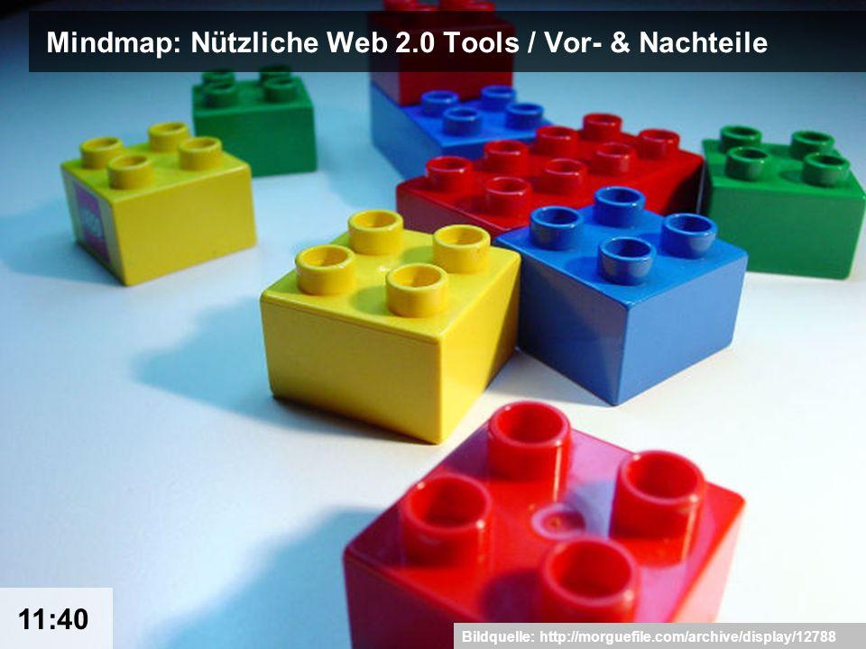 17 Mindmap: Nützliche Web 2.0 Tools / Vor- & Nachteile Bildquelle: http://morguefile.com/archive/display/12788 11:40