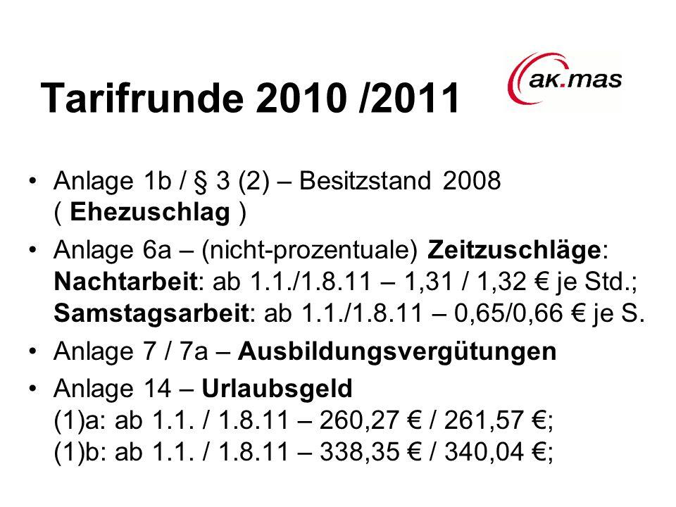 Tarifrunde 2010 /2011 Anlage 1b / § 3 (2) – Besitzstand 2008 ( Ehezuschlag ) Anlage 6a – (nicht-prozentuale) Zeitzuschläge: Nachtarbeit: ab 1.1./1.8.11 – 1,31 / 1,32 € je Std.; Samstagsarbeit: ab 1.1./1.8.11 – 0,65/0,66 € je S.