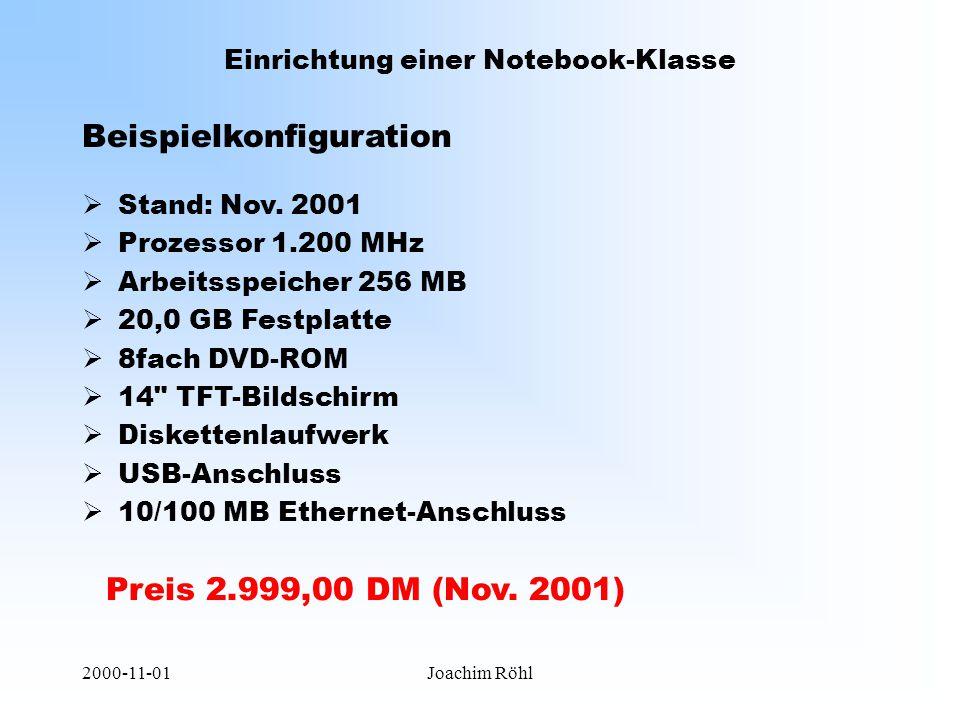 2000-11-01Joachim Röhl Einrichtung einer Notebook-Klasse Beispielkonfiguration Preis 2.999,00 DM (Nov.