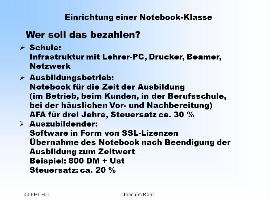 2000-11-01Joachim Röhl Einrichtung einer Notebook-Klasse Wer soll das bezahlen.