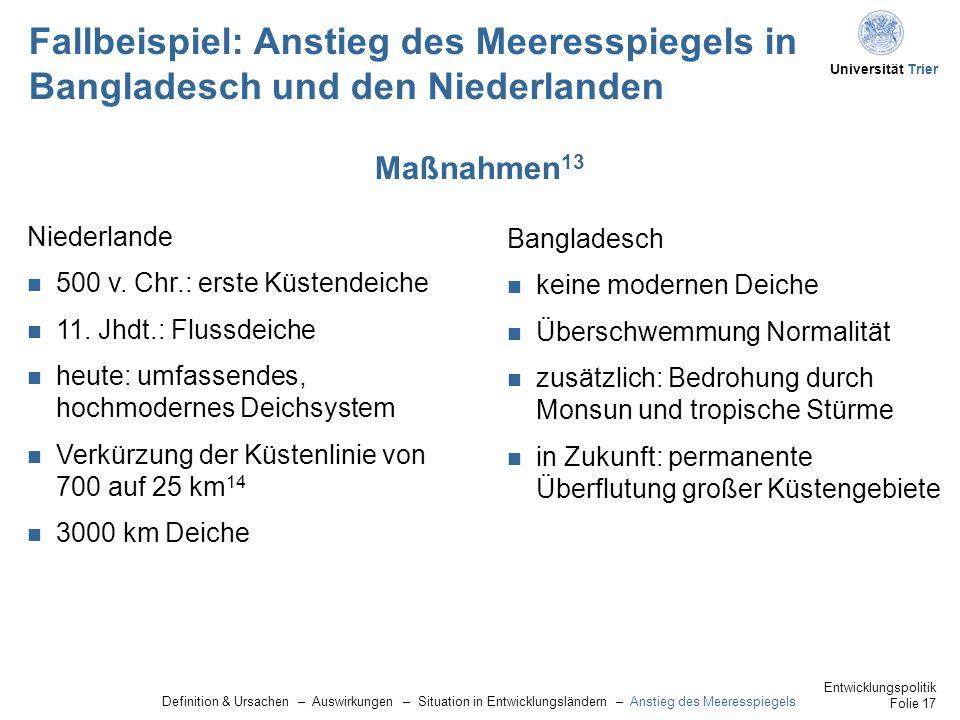 Universität Trier Fallbeispiel: Anstieg des Meeresspiegels in Bangladesch und den Niederlanden Niederlande 500 v.
