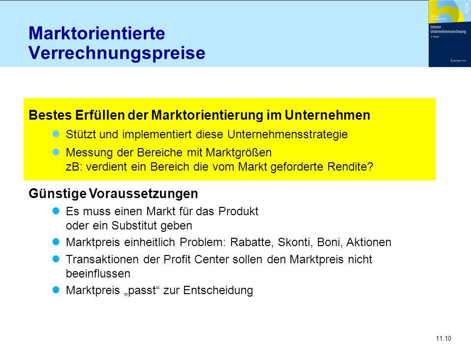 11.10 Marktorientierte Verrechnungspreise Bestes Erfüllen der Marktorientierung im Unternehmen Stützt und implementiert diese Unternehmensstrategie Me