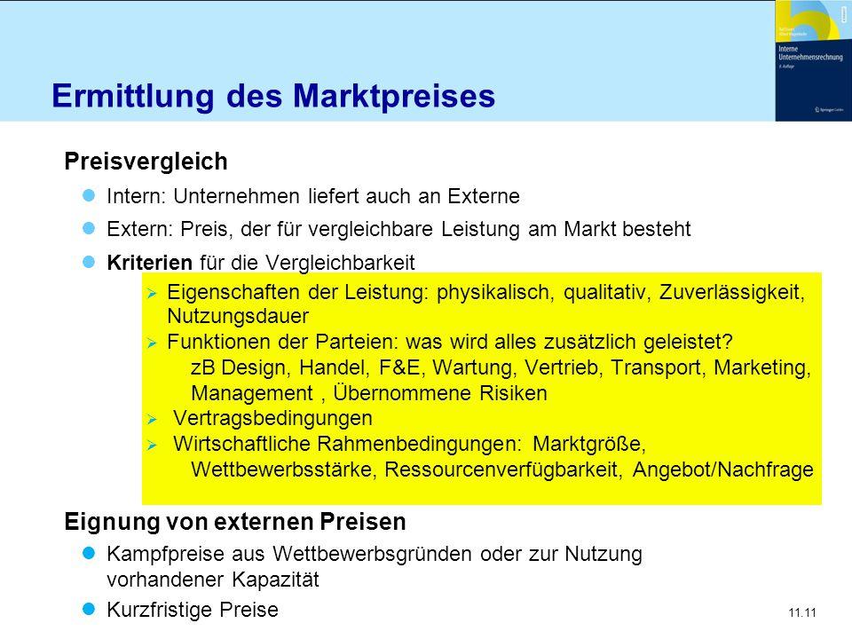 11.11 Ermittlung des Marktpreises Preisvergleich Intern: Unternehmen liefert auch an Externe Extern: Preis, der für vergleichbare Leistung am Markt be