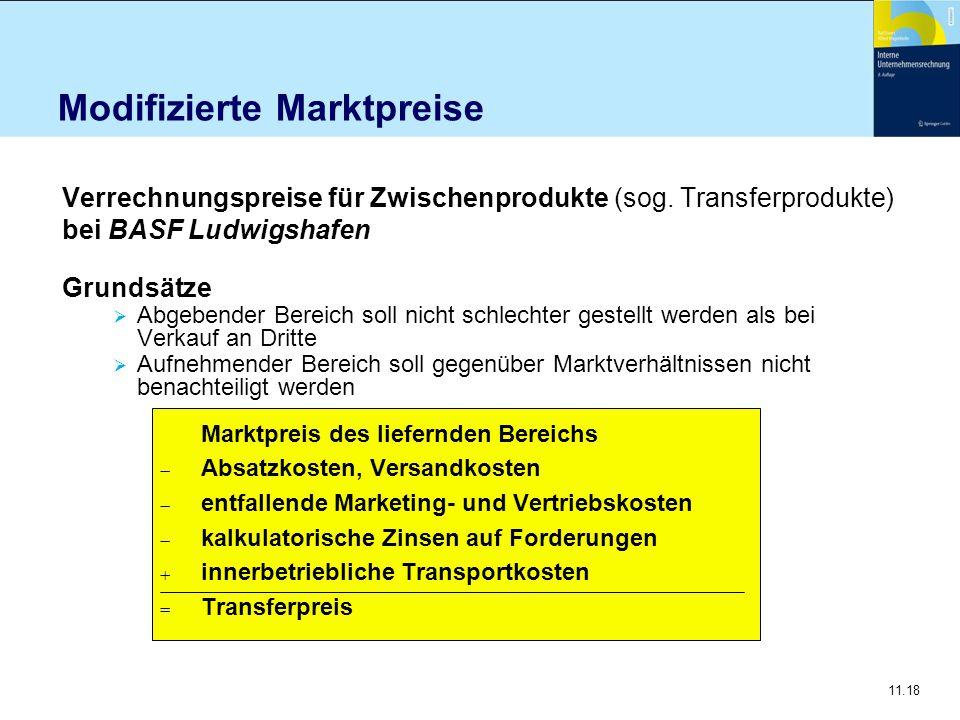 11.18 Modifizierte Marktpreise Verrechnungspreise für Zwischenprodukte (sog. Transferprodukte) bei BASF Ludwigshafen Grundsätze  Abgebender Bereich s