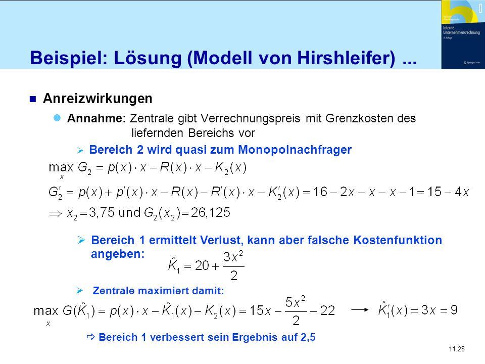 11.28 Beispiel: Lösung (Modell von Hirshleifer)... n Anreizwirkungen Annahme: Zentrale gibt Verrechnungspreis mit Grenzkosten des liefernden Bereichs