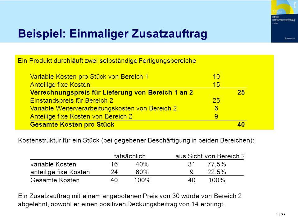 11.33 Beispiel: Einmaliger Zusatzauftrag Ein Produkt durchläuft zwei selbständige Fertigungsbereiche Variable Kosten pro Stück von Bereich 1 10 Anteil