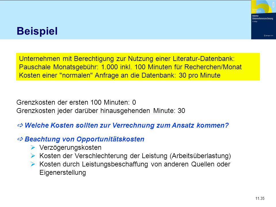 11.35 Beispiel Unternehmen mit Berechtigung zur Nutzung einer Literatur-Datenbank: Pauschale Monatsgebühr: 1.000 inkl. 100 Minuten für Recherchen/Mona