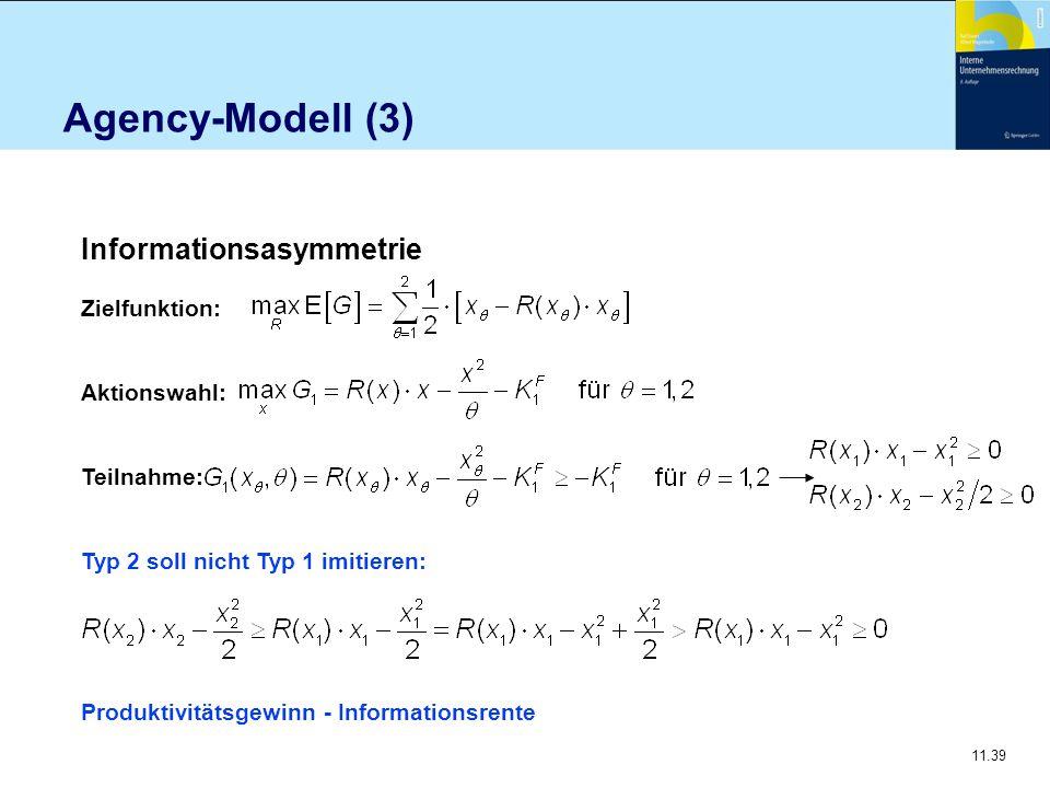 11.39 Agency-Modell (3) Informationsasymmetrie Zielfunktion: Aktionswahl: Teilnahme: Typ 2 soll nicht Typ 1 imitieren: Produktivitätsgewinn - Informat