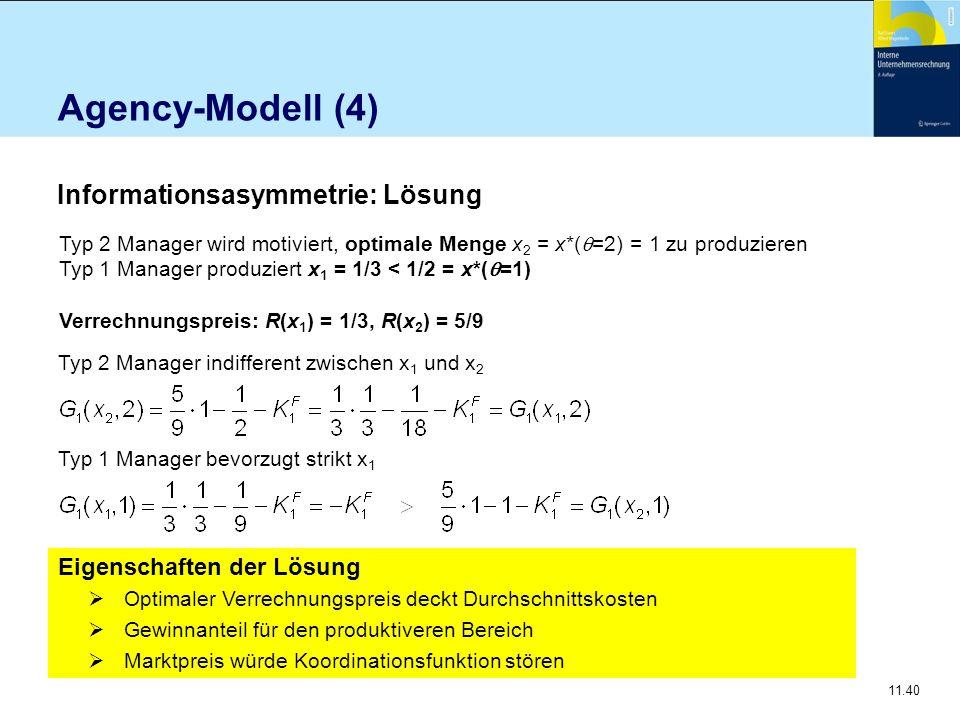 11.40 Agency-Modell (4) Typ 2 Manager wird motiviert, optimale Menge x 2 = x*(  =2) = 1 zu produzieren Typ 1 Manager produziert x 1 = 1/3 < 1/2 = x*(
