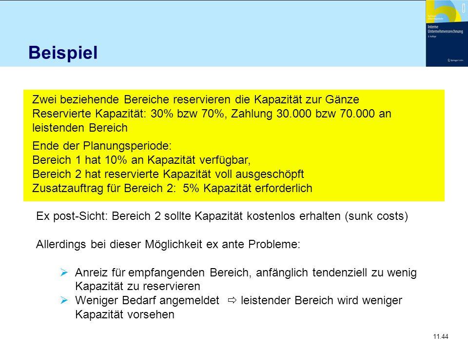11.44 Beispiel Zwei beziehende Bereiche reservieren die Kapazität zur Gänze Reservierte Kapazität: 30% bzw 70%, Zahlung 30.000 bzw 70.000 an leistende