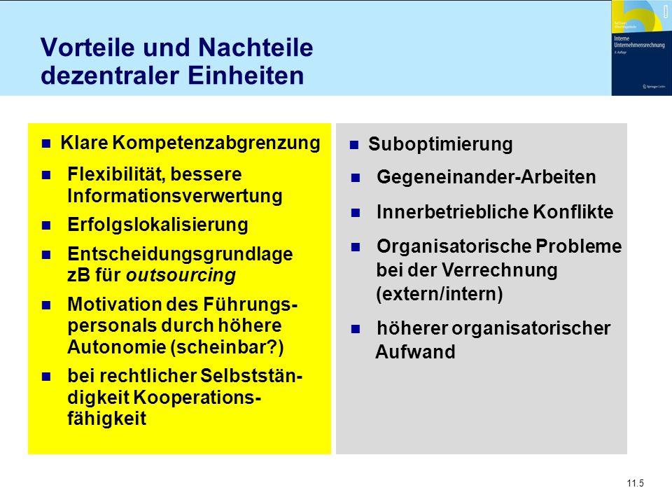 11.5 Vorteile und Nachteile dezentraler Einheiten n Klare Kompetenzabgrenzung n Suboptimierung n Flexibilität, bessere Informationsverwertung n Erfolg