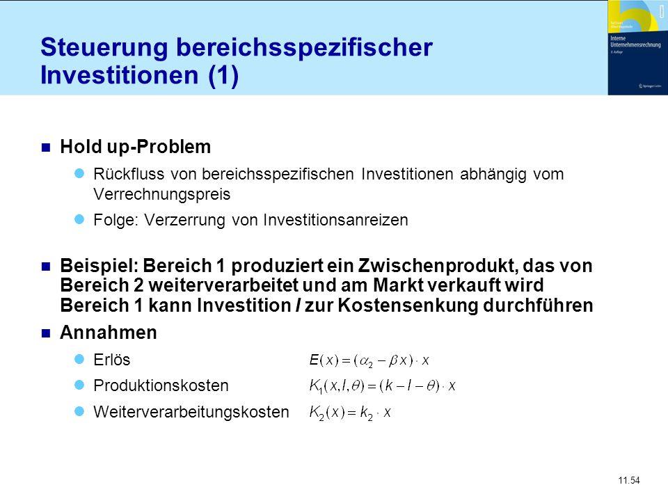 11.54 Steuerung bereichsspezifischer Investitionen (1) n Hold up-Problem Rückfluss von bereichsspezifischen Investitionen abhängig vom Verrechnungspre