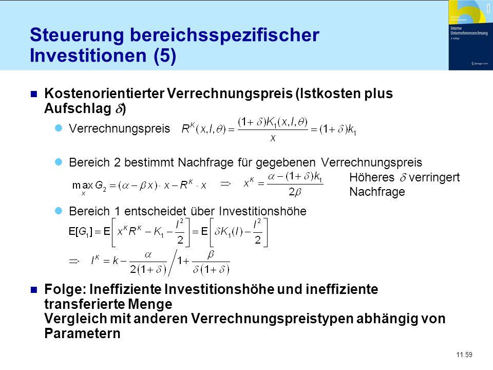11.59 Steuerung bereichsspezifischer Investitionen (5) Kostenorientierter Verrechnungspreis (Istkosten plus Aufschlag  ) Verrechnungspreis Bereich 2