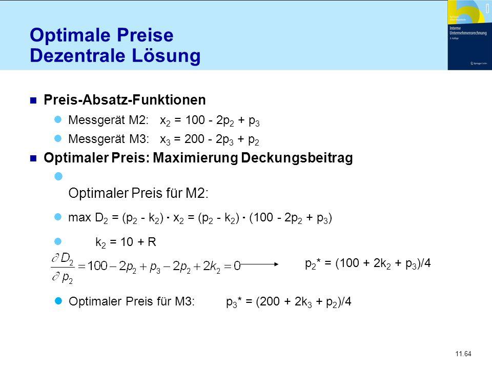 11.64 Optimale Preise Dezentrale Lösung n Preis-Absatz-Funktionen Messgerät M2: x 2 = 100 - 2p 2 + p 3 Messgerät M3: x 3 = 200 - 2p 3 + p 2 n Optimale