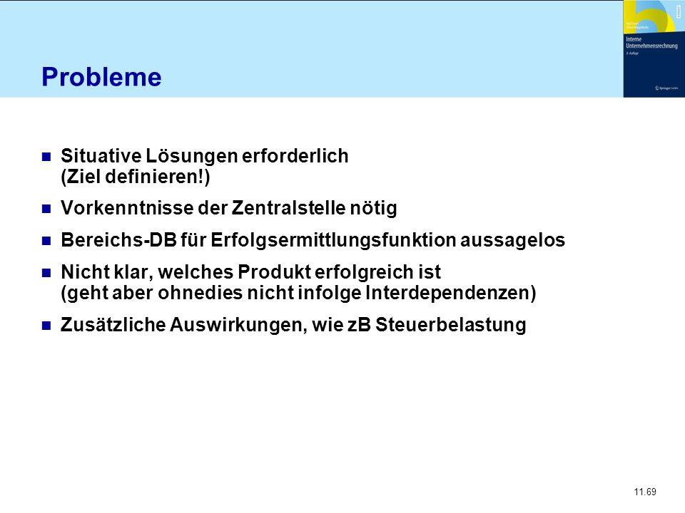 11.69 Probleme n Situative Lösungen erforderlich (Ziel definieren!) n Vorkenntnisse der Zentralstelle nötig n Bereichs-DB für Erfolgsermittlungsfunkti