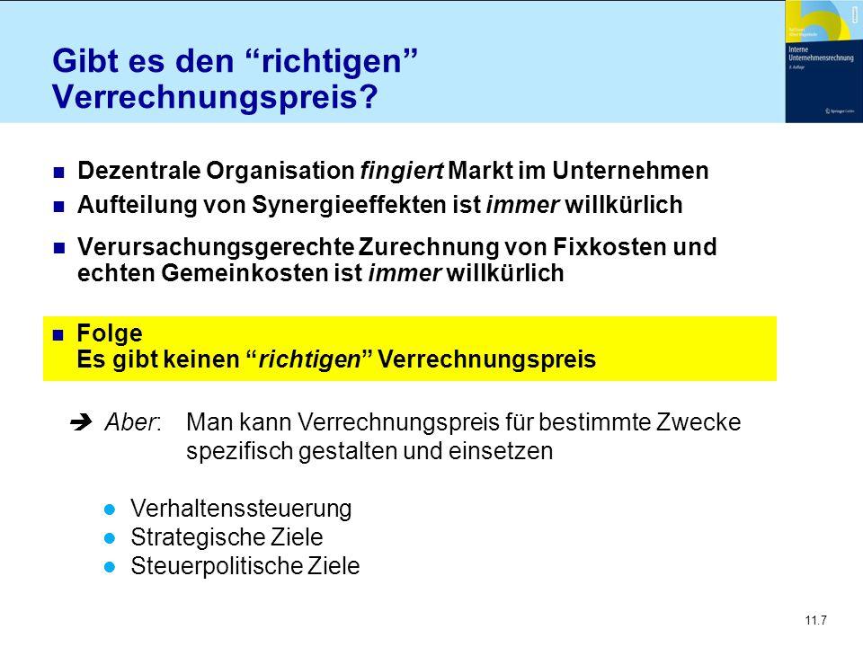 11.18 Modifizierte Marktpreise Verrechnungspreise für Zwischenprodukte (sog.