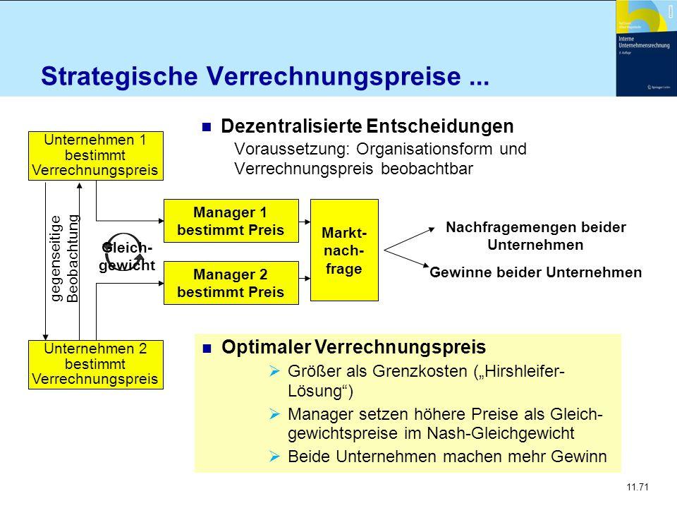 11.71 Strategische Verrechnungspreise... n Dezentralisierte Entscheidungen Voraussetzung: Organisationsform und Verrechnungspreis beobachtbar Markt- n