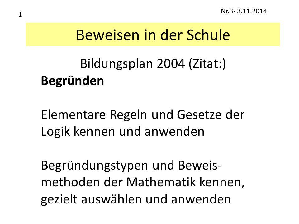 Beweisen in der Schule Bildungsplan 2004 (Zitat:) Begründen Elementare Regeln und Gesetze der Logik kennen und anwenden Begründungstypen und Beweis- m