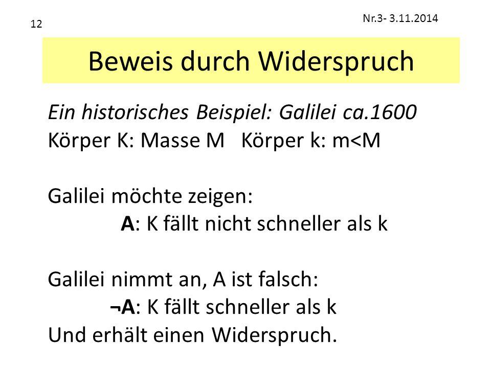 Beweis durch Widerspruch Ein historisches Beispiel: Galilei ca.1600 Körper K: Masse M Körper k: m<M Galilei möchte zeigen: A: K fällt nicht schneller