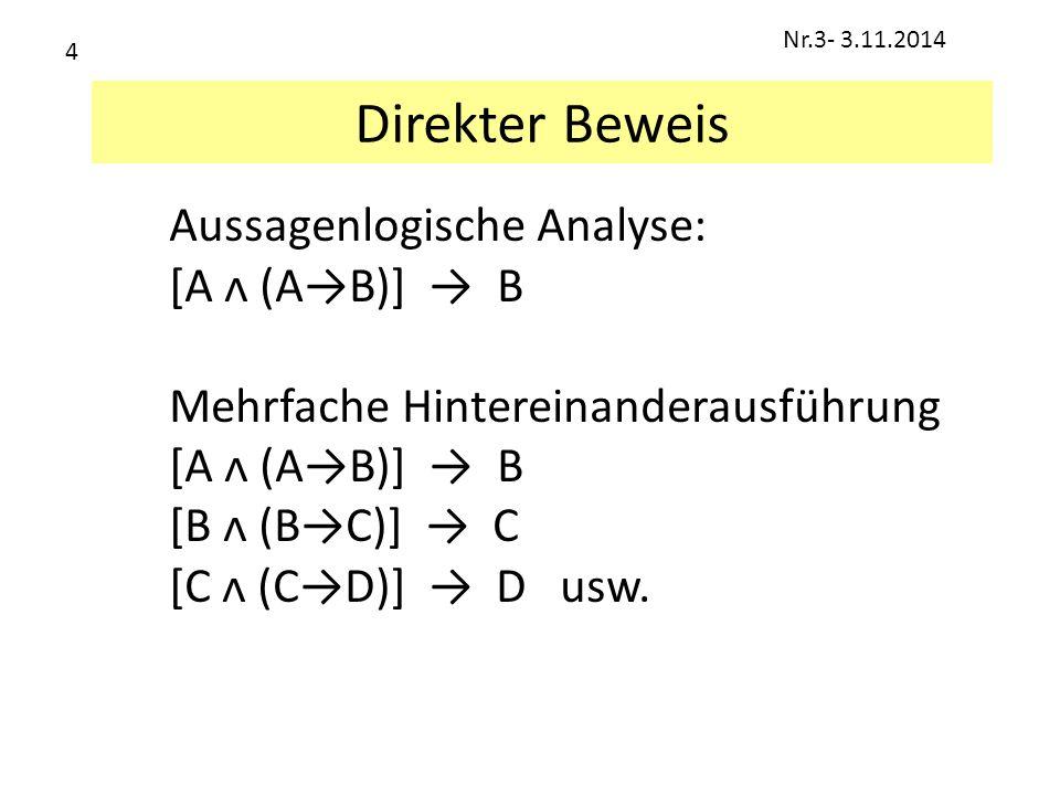 Direkter Beweis Aussagenlogische Analyse: [A ᴧ (A→B)] → B Mehrfache Hintereinanderausführung [A ᴧ (A→B)] → B [B ᴧ (B→C)] → C [C ᴧ (C→D)] → D usw. Nr.3