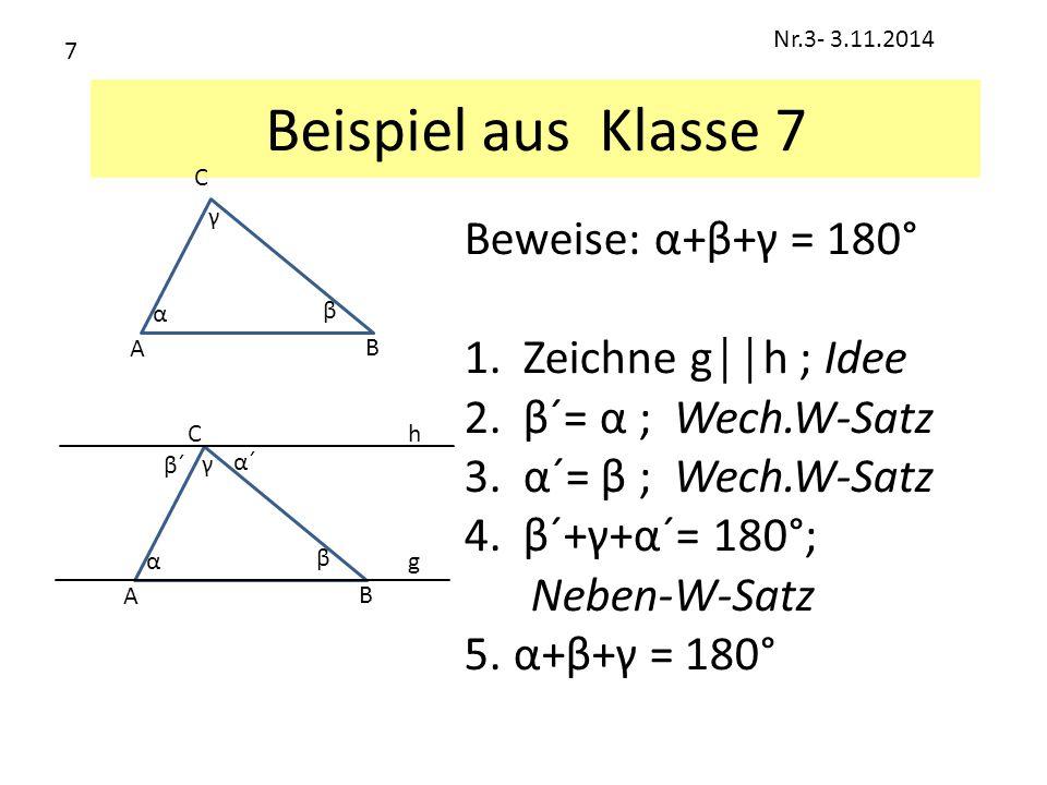 Beispiel aus Klasse 7 Beweise: α+β+γ = 180° 1.Zeichne g││h ; Idee 2.β´= α ; Wech.W-Satz 3.α´= β ; Wech.W-Satz 4.β´+γ+α´= 180°; Neben-W-Satz 5. α+β+γ =