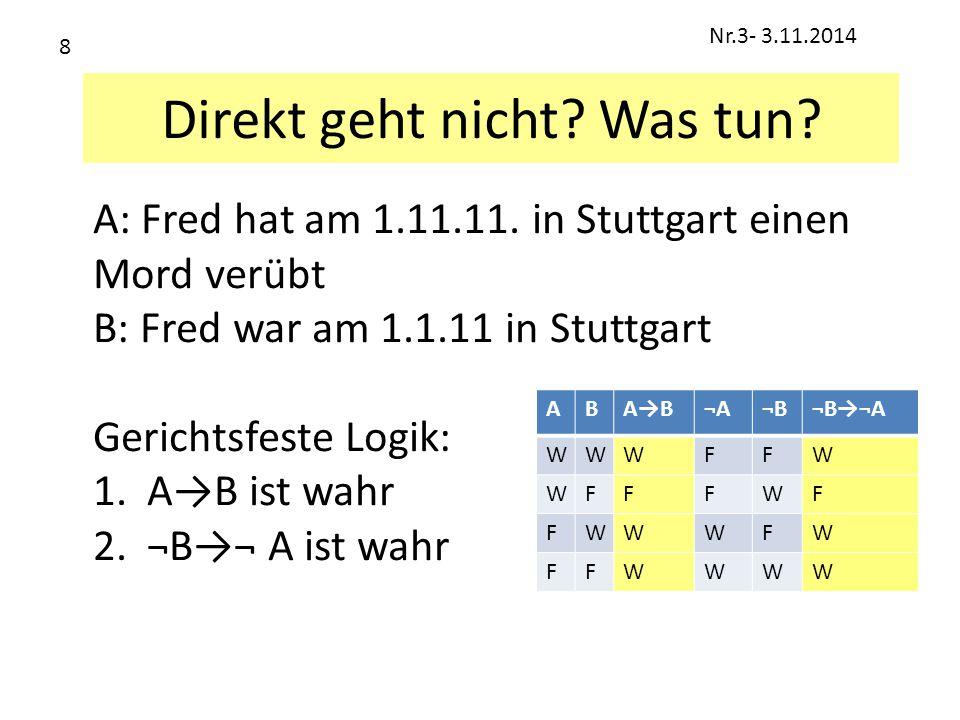 Direkt geht nicht? Was tun? A: Fred hat am 1.11.11. in Stuttgart einen Mord verübt B: Fred war am 1.1.11 in Stuttgart Gerichtsfeste Logik: 1.A→B ist w