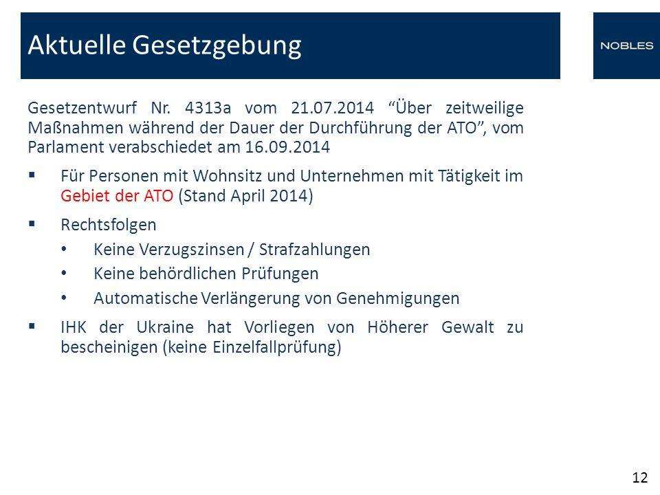 """Gesetzentwurf Nr. 4313a vom 21.07.2014 """"Über zeitweilige Maßnahmen während der Dauer der Durchführung der ATO"""", vom Parlament verabschiedet am 16.09.2"""