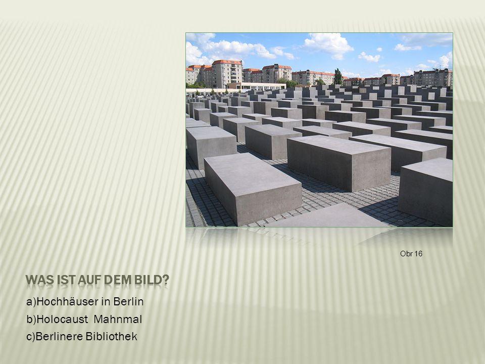 a)Hochhäuser in Berlin b)Holocaust Mahnmal c)Berlinere Bibliothek Obr 16
