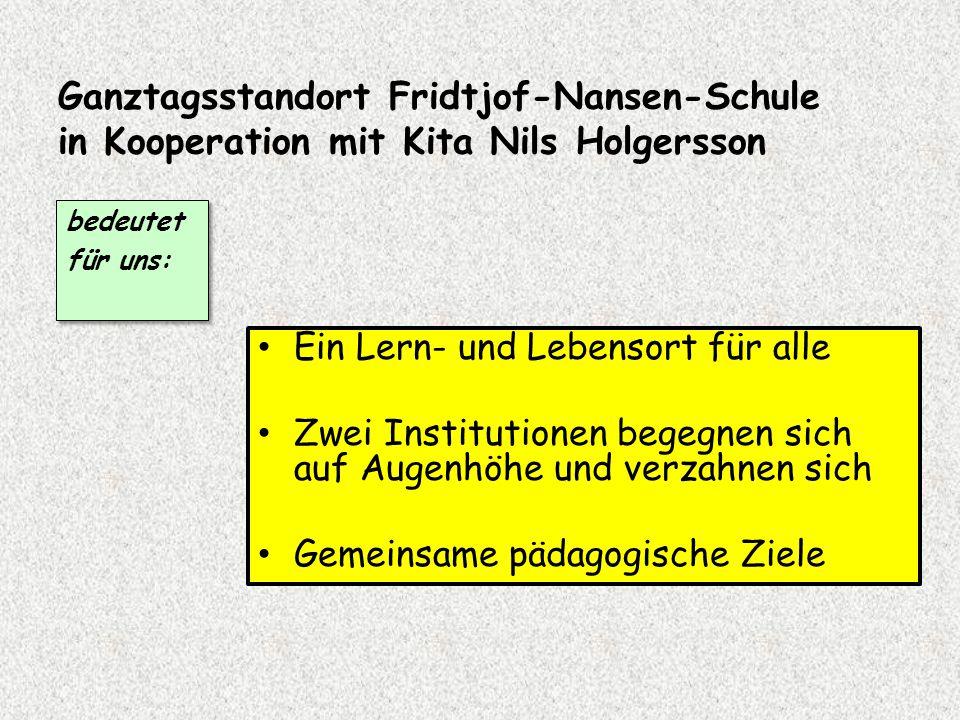 Ganztagsstandort Fridtjof-Nansen-Schule in Kooperation mit Kita Nils Holgersson Ein Lern- und Lebensort für alle Zwei Institutionen begegnen sich auf Augenhöhe und verzahnen sich Gemeinsame pädagogische Ziele bedeutet für uns: bedeutet für uns: