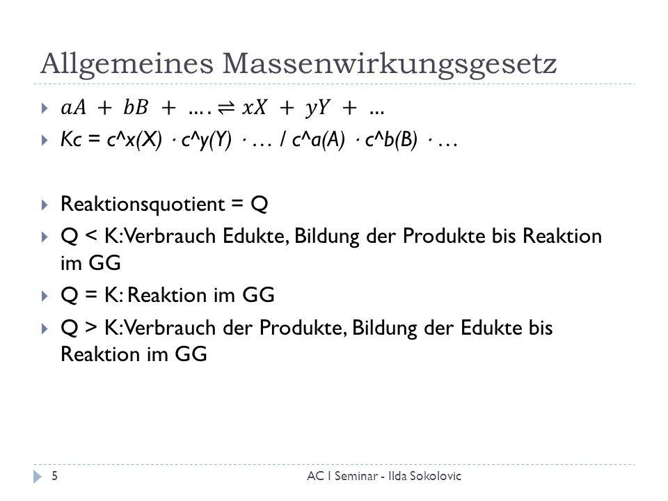 Allgemeines Massenwirkungsgesetz 5AC I Seminar - Ilda Sokolovic