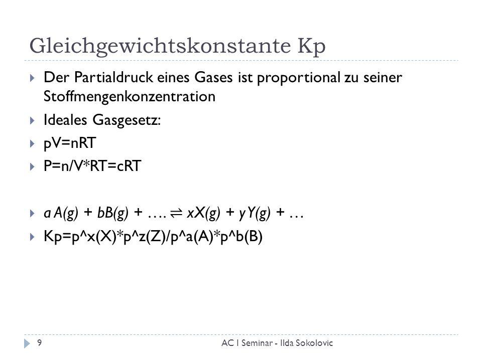 Gleichgewichtskonstante Kp  Der Partialdruck eines Gases ist proportional zu seiner Stoffmengenkonzentration  Ideales Gasgesetz:  pV=nRT  P=n/V*RT
