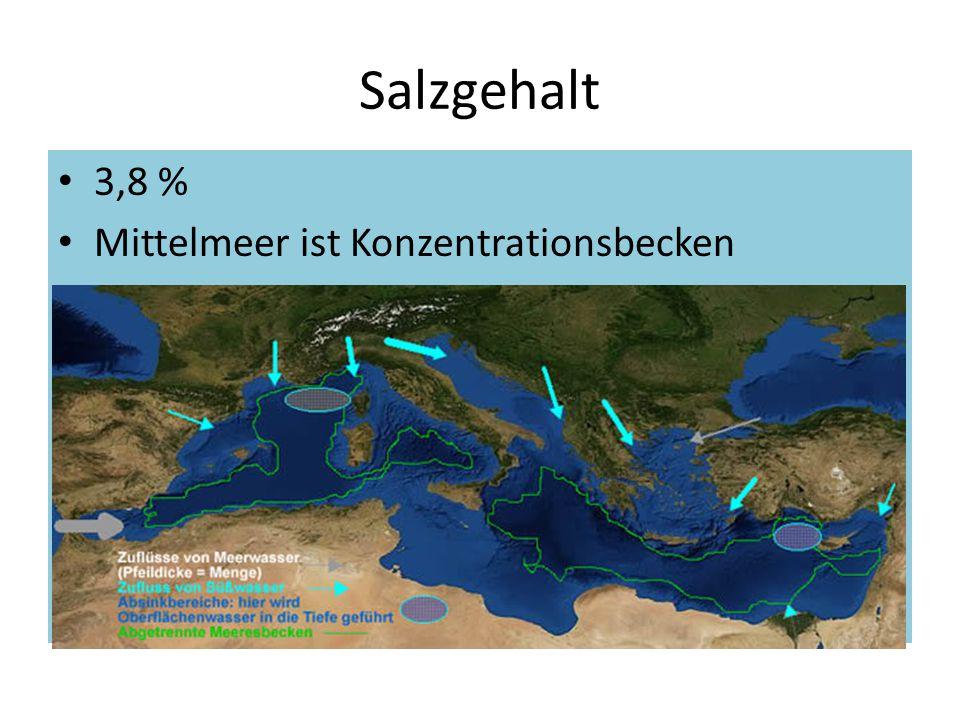 Salzgehalt 3,8 % Mittelmeer ist Konzentrationsbecken