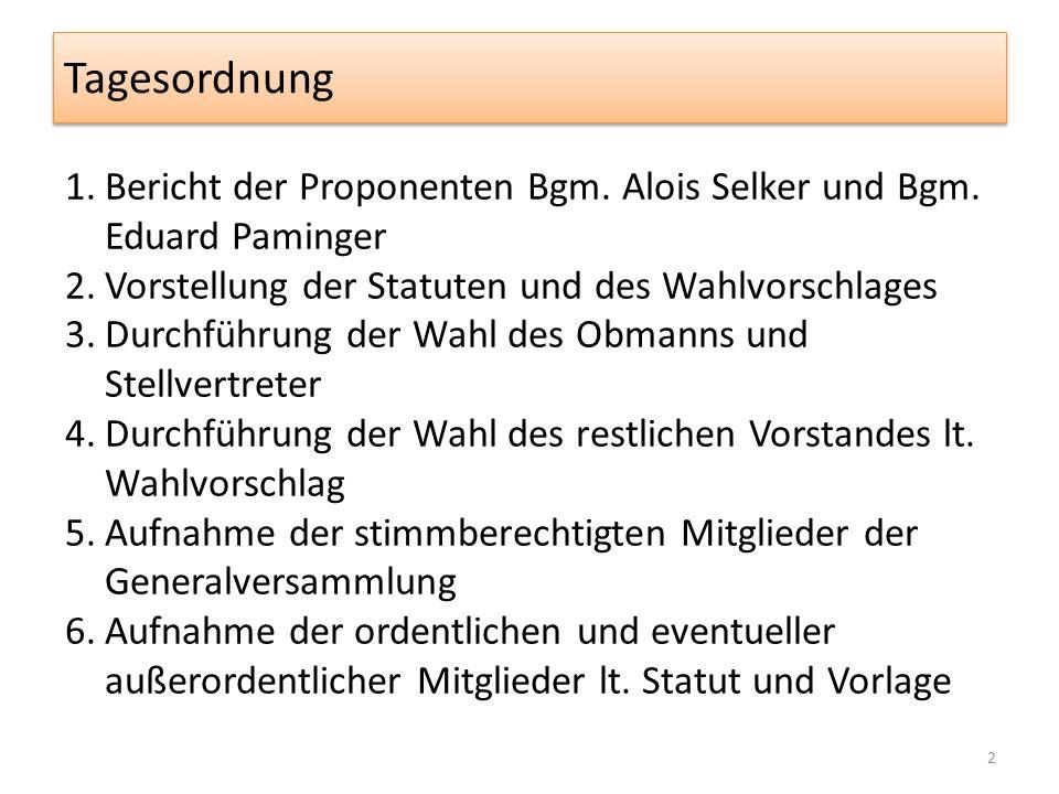 Tagesordnung 1.Bericht der Proponenten Bgm. Alois Selker und Bgm.