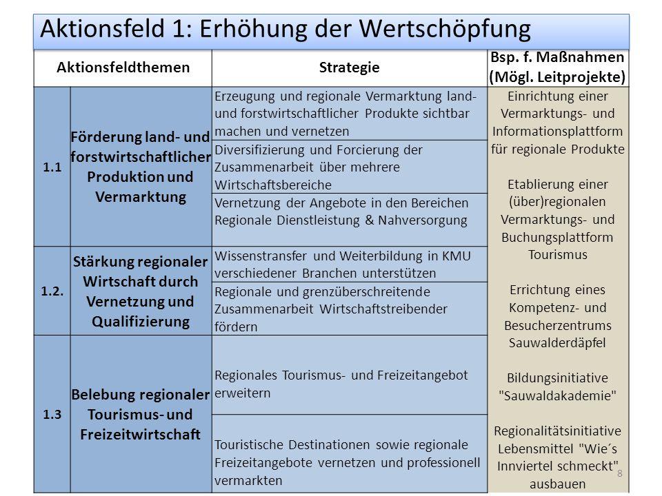 AktionsfeldthemenStrategie Bsp. f. Maßnahmen (Mögl.
