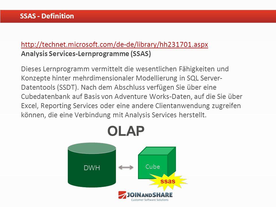 http://technet.microsoft.com/de-de/library/hh231701.aspx http://technet.microsoft.com/de-de/library/hh231701.aspx Analysis Services-Lernprogramme (SSA