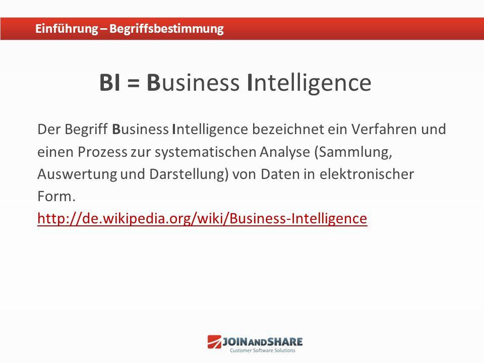BI = Business Intelligence Der Begriff Business Intelligence bezeichnet ein Verfahren und einen Prozess zur systematischen Analyse (Sammlung, Auswertu