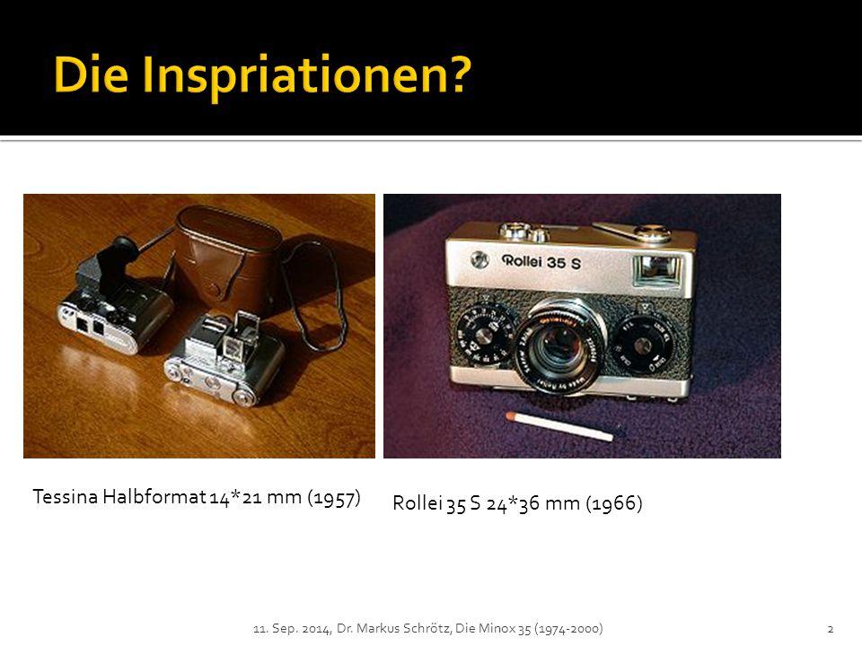 Tessina Halbformat 14*21 mm (1957) Rollei 35 S 24*36 mm (1966) 2