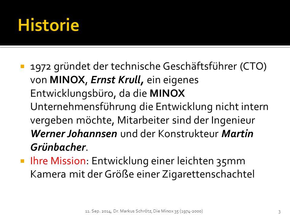  1972 gründet der technische Geschäftsführer (CTO) von MINOX, Ernst Krull, ein eigenes Entwicklungsbüro, da die MINOX Unternehmensführung die Entwicklung nicht intern vergeben möchte, Mitarbeiter sind der Ingenieur Werner Johannsen und der Konstrukteur Martin Grünbacher.