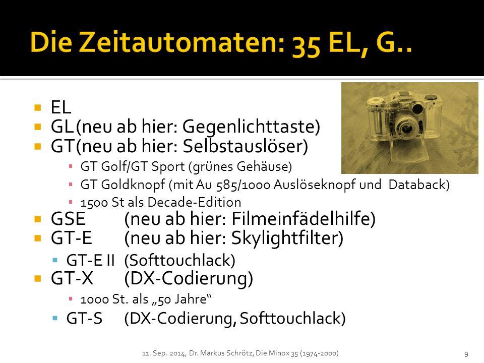  EL  GL(neu ab hier: Gegenlichttaste)  GT(neu ab hier: Selbstauslöser) ▪ GT Golf/GT Sport (grünes Gehäuse) ▪ GT Goldknopf (mit Au 585/1000 Auslöseknopf und Databack) ▪ 1500 St als Decade-Edition  GSE(neu ab hier: Filmeinfädelhilfe)  GT-E(neu ab hier: Skylightfilter)  GT-E II(Softtouchlack)  GT-X(DX-Codierung) ▪ 1000 St.