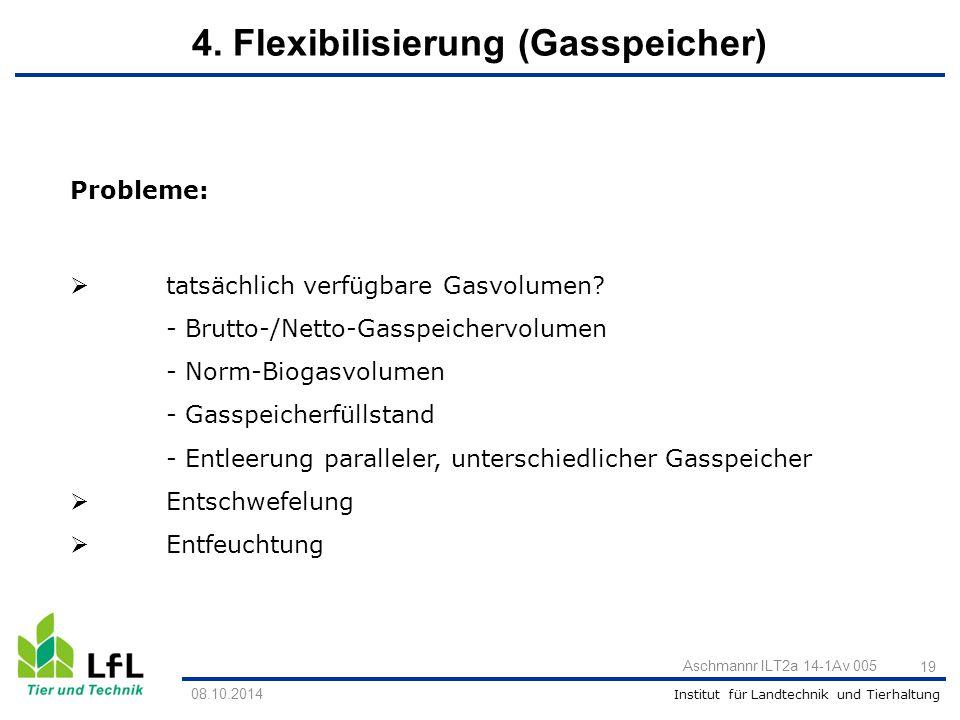 Institut für Landtechnik und Tierhaltung 19 Aschmannr ILT2a 14-1Av 005 08.10.2014 Probleme:  tatsächlich verfügbare Gasvolumen? - Brutto-/Netto-Gassp