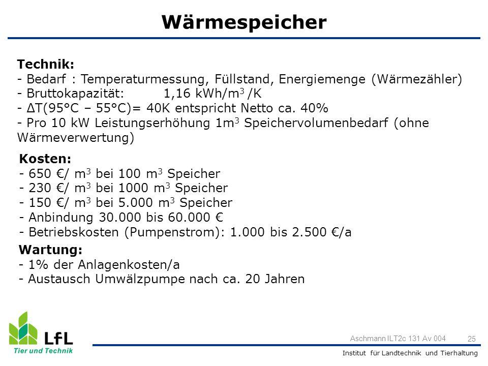 Institut für Landtechnik und Tierhaltung 25 Aschmann ILT2c 131 Av 004 Wärmespeicher Technik: - Bedarf : Temperaturmessung, Füllstand, Energiemenge (Wä
