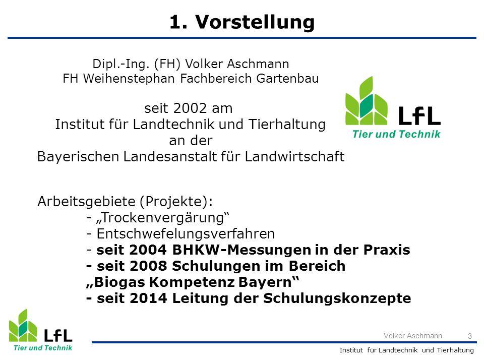 Institut für Landtechnik und Tierhaltung Volker Aschmann 3 Dipl.-Ing. (FH) Volker Aschmann FH Weihenstephan Fachbereich Gartenbau seit 2002 am Institu
