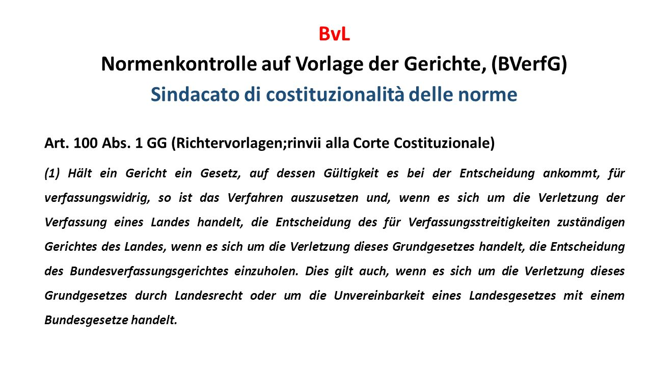 BvL Normenkontrolle auf Vorlage der Gerichte, (BVerfG) Sindacato di costituzionalità delle norme Art.