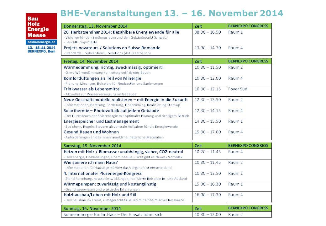 BHE-Veranstaltungen 13. – 16. November 2014