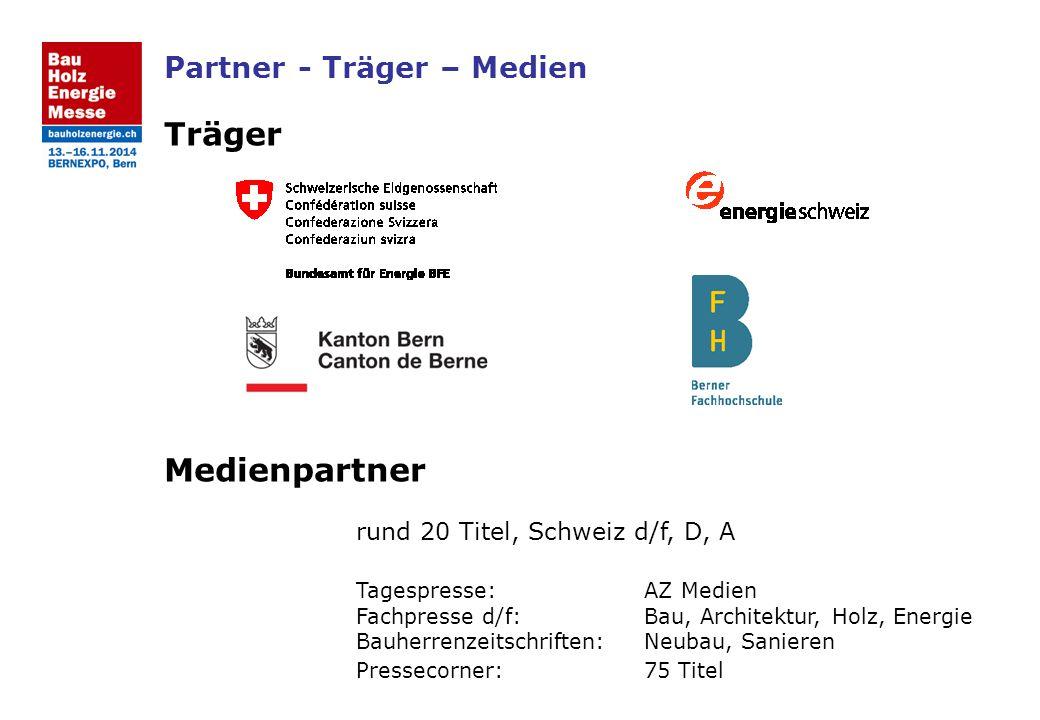Partner - Träger – Medien Träger Medienpartner rund 20 Titel, Schweiz d/f, D, A Tagespresse:AZ Medien Fachpresse d/f:Bau, Architektur, Holz, Energie B