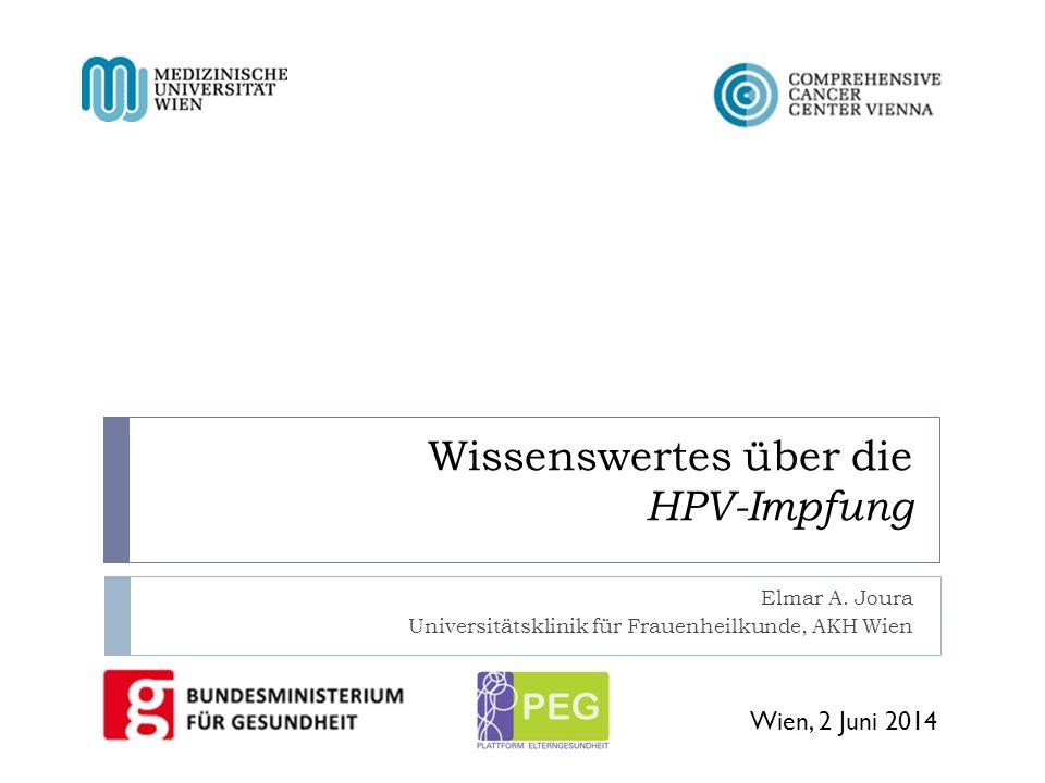 Wissenswertes über die HPV-Impfung Elmar A. Joura Universitätsklinik für Frauenheilkunde, AKH Wien Wien, 2 Juni 2014